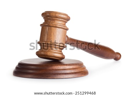 Wooden judge gavel isolated on white background - stock photo