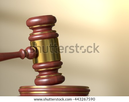 Wooden judge gavel with stand on defocused courtroom background. Law, justice and auction concept. 3D illustration - stock photo