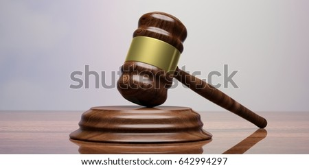 Wooden judge or auction gavel on a wooden table. 3d illustration