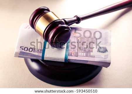 Wooden judge's gavel and euro in toning