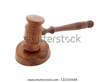 Wooden judge's gavel isolated on white - stock photo