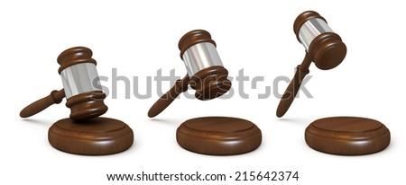 Wooden judges gavel - stock photo