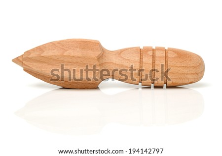 wooden juicer on white background