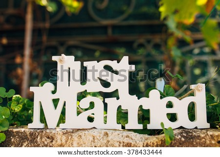 Wooden  just married - stock photo