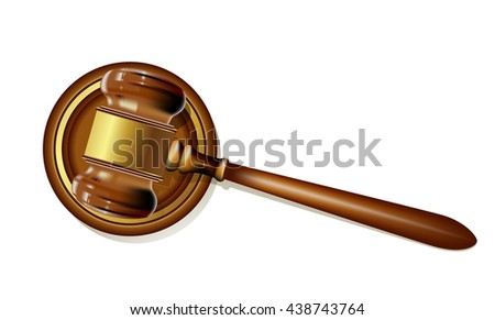 wooden justice gavel on white. realistic raster illustration - stock photo