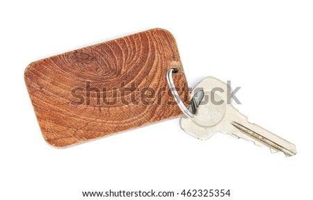 wooden key tag isolated on white background