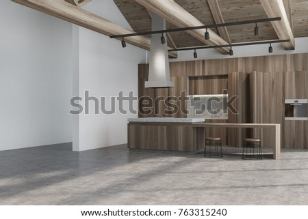 Wooden kitchen interior with a white wall, a concrete floor and a row of cupboards and countertops with built in appliances. A bar stand with stools. 3d rendering mock up
