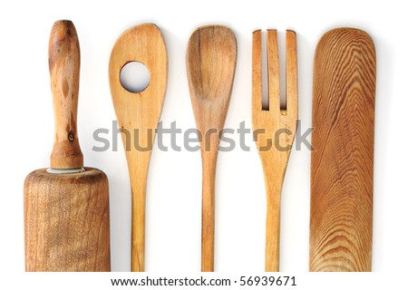 Wooden kitchen tableware studio isolated on white background