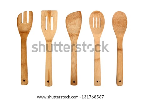 Wooden Kitchen Utensils. Isolated with clipping path.