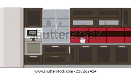 Wooden kitchen with a stove, microwave and fridge
