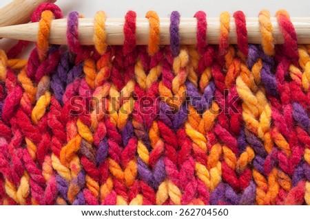 wooden knitting needles - stock photo