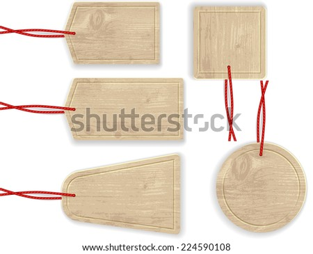 Wooden Labels with Red Rope. Isolated. Raster Version.