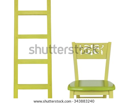 Wooden Ladder and a wooden Chair isolated on white background - stock photo