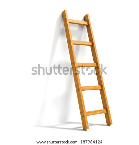 Wooden ladder leaned against white wall isolated - stock photo