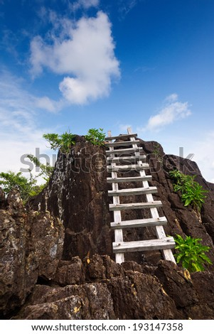 Wooden ladder to blue sky. - stock photo