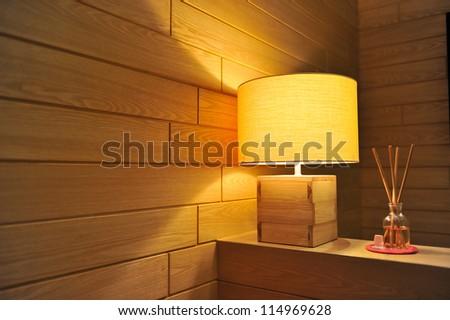 Wooden lamp - stock photo