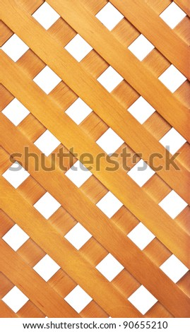 Wooden lattice isolated on white background