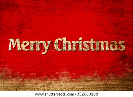 Wooden Letters With Word Merry Christmas On Red Wooden Background. Christmas Greeting Card. Rustic, Vintage Style - stock photo