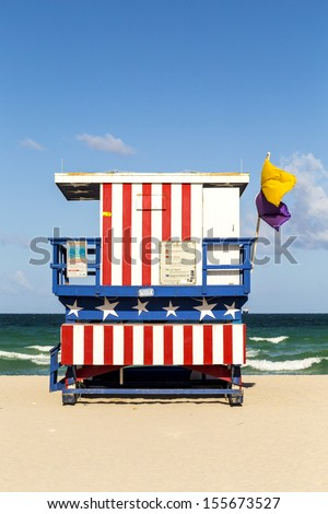 wooden life guard huts in art deco style at south beach