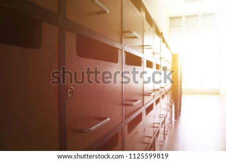 Good Wooden Lockers Or Mailboxes Cabinets Furniture In A Locker Room At School  Or University For Student