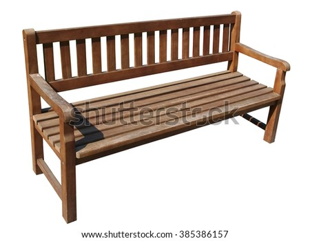 Wooden long  bench in public city park. Isolated