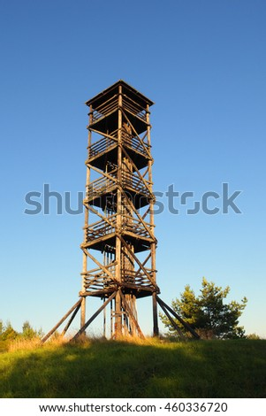 Wooden lookout tower on hiking trail in Southern Estonia.