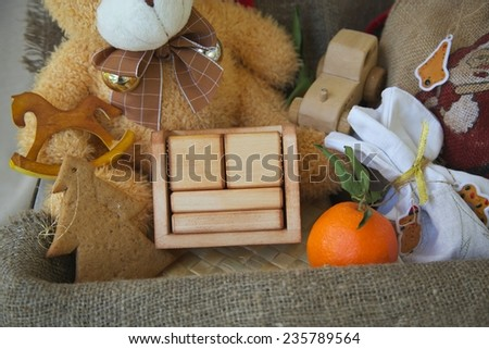 Wooden made calendar with free space for a text: (month/day/holiday name or year) - stock photo