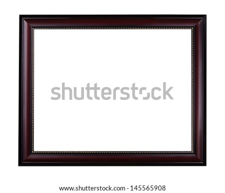 Wooden mahogany picture frame with golden ornament, isolated over white (clipping path included) - stock photo