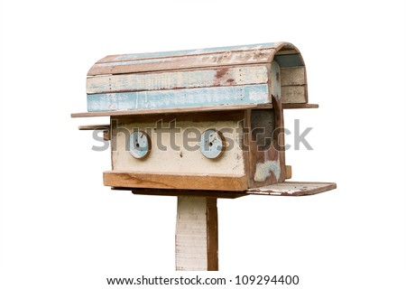 wooden mailbox isolated on white background