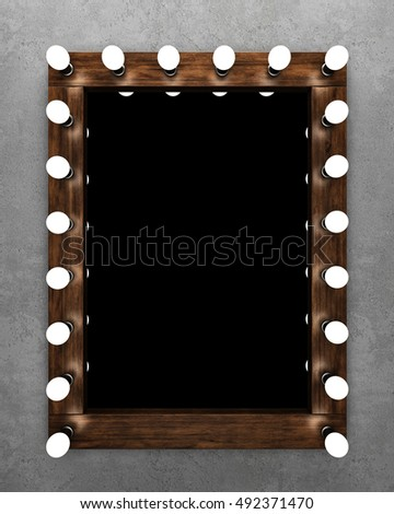 Wooden makeup mirror on concrete wall  3D rendering. Makeup Mirror Stock Images  Royalty Free Images   Vectors