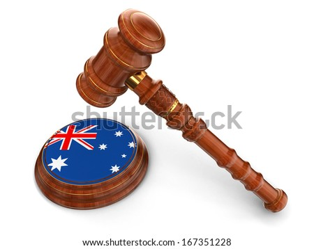 Wooden Mallet and Australian flag (clipping path included) - stock photo