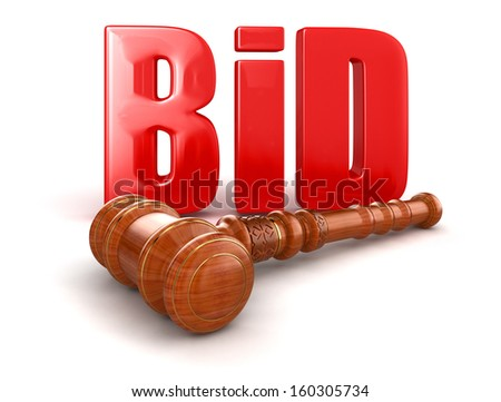 Wooden Mallet and BID - stock photo