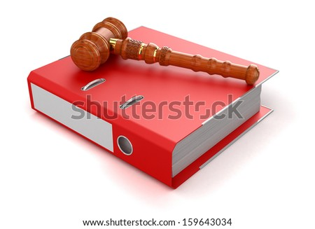 Wooden Mallet and Document - stock photo
