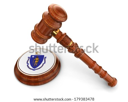 Wooden Mallet and flag Of Massachusetts (clipping path included) - stock photo