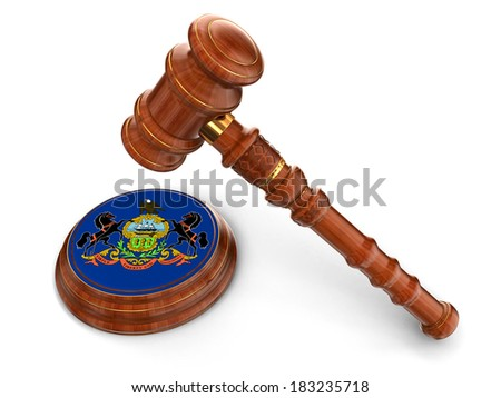 Wooden Mallet and flag Of Pennsylvania (clipping path included) - stock photo