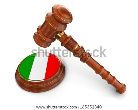Wooden Mallet and Italian flag (clipping path included) - stock photo