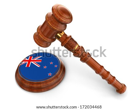Wooden Mallet and New Zealand flag (clipping path included) - stock photo