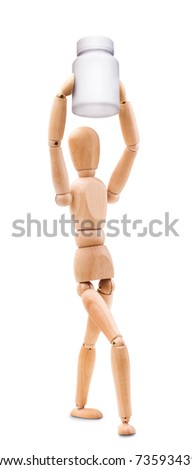 Wooden man hold a medical container