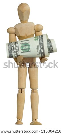 Wooden man holding dollars