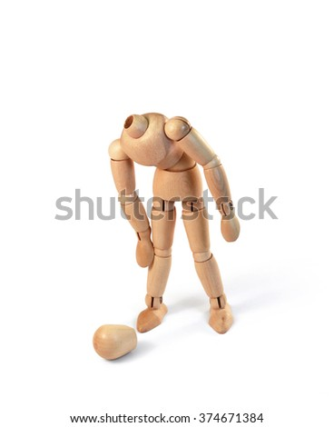 Wooden man lost his head on white, with clipping path