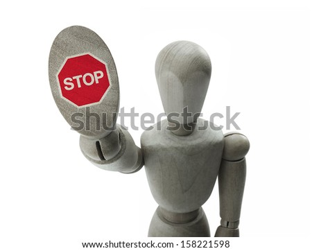 wooden man making a stop sign with his hand - stock photo