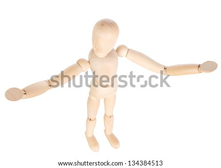 Wooden mannequin holds out his hands. Shallow depth rezkozti. Isolated white background