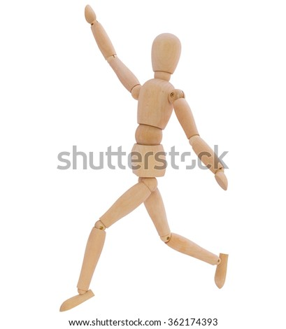wooden mannequin running and waving right hand