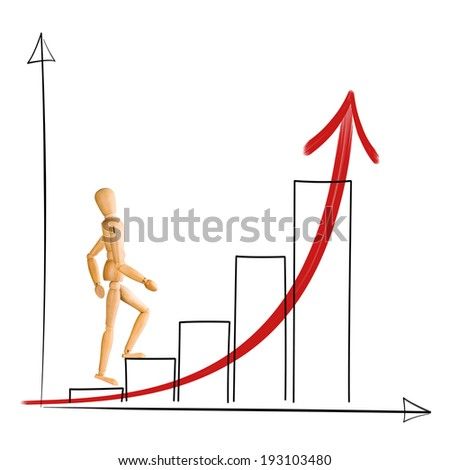 Wooden mannequin walking up chart columns. Career and business success concept. - stock photo