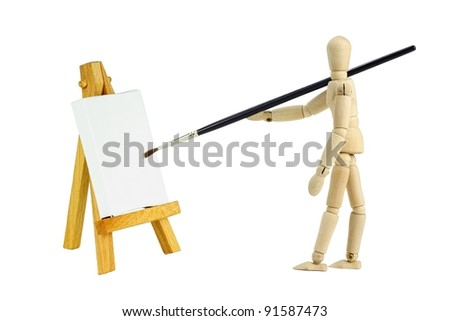 Wooden mannequin with an easel with a blank canvas to be used for text and other purposes by the designer
