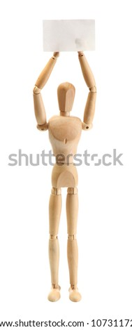 wooden mannequin with empty paper isolated on white