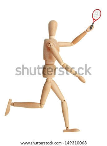 Wooden mannequin with tennis racket on grey background