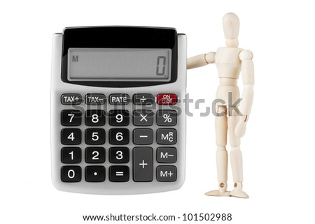 Wooden mannequin with the calculator on a white background