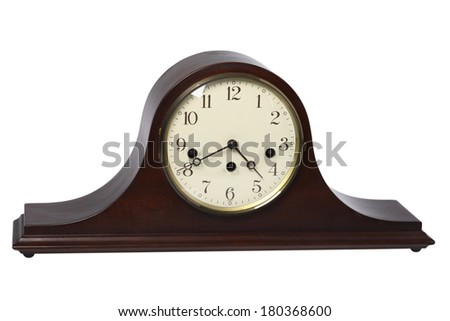 Wooden mantelpiece clock on white background