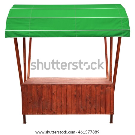 Wooden Market Stand Stall Green Awning Stock Photo 461577889